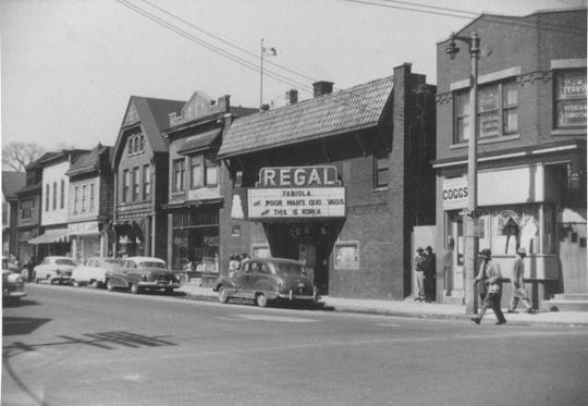 The Walnut Street business district, pictured here in 1950, was known as the hub of the north side black community.