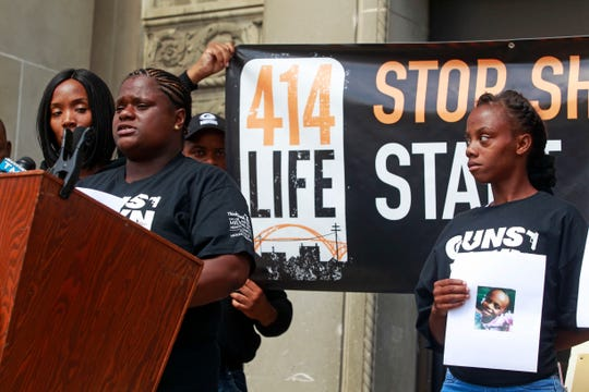 Bernice Parks, left, speaks Friday outside the Milwaukee County Courthouse during a news conference hours before Isaac D. Barnes was sentenced to over 50 years in prison for the death of her daughter Sandra Parks. On the right is Arnetha Miller, mother of Brooklyn Harris,  who was killed during a road rage incident in July.