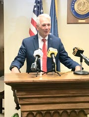 Congressman Ralph Abraham, R-Alto, speaks to reporters on Aug. 6 at the Louisiana Secretary of State's office qualifying to run for governor.