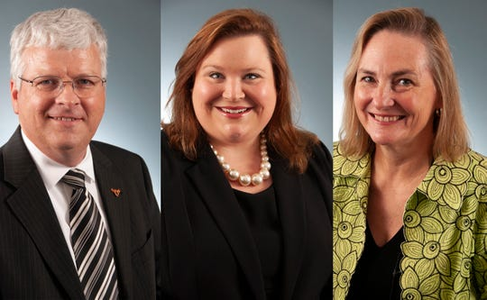 From left, Ross Dickens, Eve Rhea and Lynn Stallings are three new leaders at Auburn University Montgomery.
