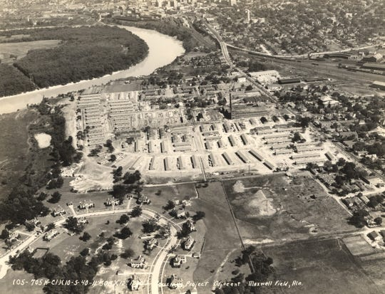 This aerial photo from 1940 shows the area where the whitewater park will be located. At that time, the Riverside Heights housing project was located there.