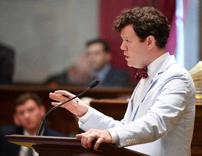 Rep. Michael Curcio, R-Dickson defends the decision to put off a vote on Rep. David Byrd during a special session of  the legislature. The Waynesboro representative announced that he will not run for reelection after being dogged with allegations of sexual assault. Friday, Aug. 23, 2019, in Nashville, Tenn.