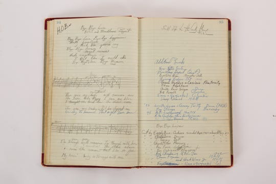 "A bound ledger containing the Bryants' original, handwritten lyrics and music for  ""Bye Bye Love"" and other classics."