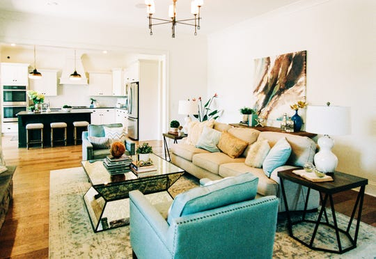 This photo shows the open floor plan in the Willow Branch model home.