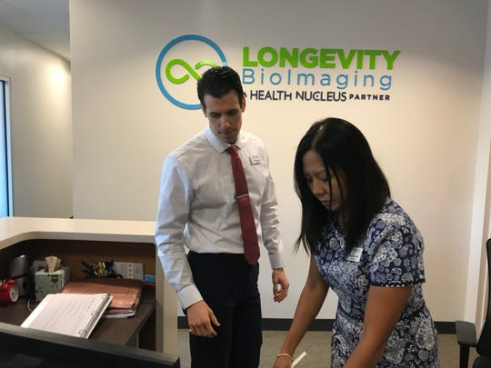 Dr. Carl DuCharme, left, and Sharon Bruno, at Longevity BioImaging in Naples.