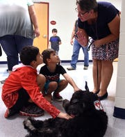 Licking Valley Primary School guidance counselor Ruth Satterfield (right) introduces students Ashten, 9, and Ikaika, 5, Graham to the school's newest staff member, therapy dog Jarah. Jarah, an Australian Labradoodle,  will aid students of the Primary School with the help of six staff members who have been trained as her handlers.