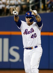 Aug 22, 2019; New York City, NY, USA; New York Mets catcher Wilson Ramos (40) reacts after hitting a two run double against the Cleveland Indians during the fourth inning at Citi Field. Mandatory Credit: Andy Marlin-USA TODAY Sports