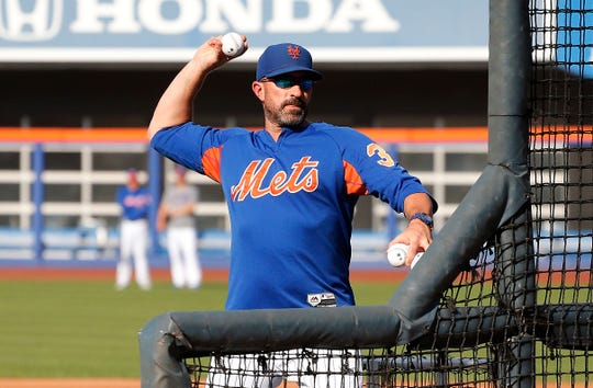 Aug 22, 2019; New York City, NY, USA; New York Mets manager Mickey Callaway (36) pitches batting practice prior to the game against the Cleveland Indians at Citi Field. Mandatory Credit: Andy Marlin-USA TODAY Sports