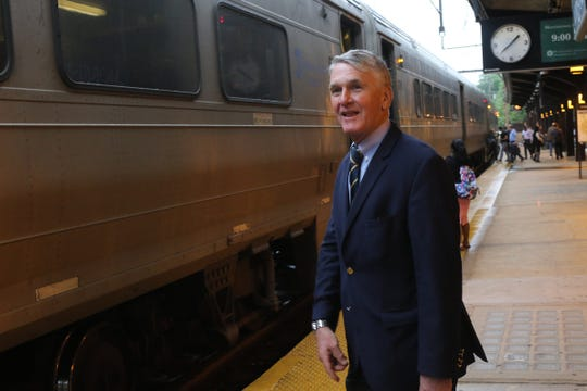 NJ Transit executive director Kevin Corbett on the platform at the Morristown Train Station for daily commute to his office in Newark on August 23, 2019.