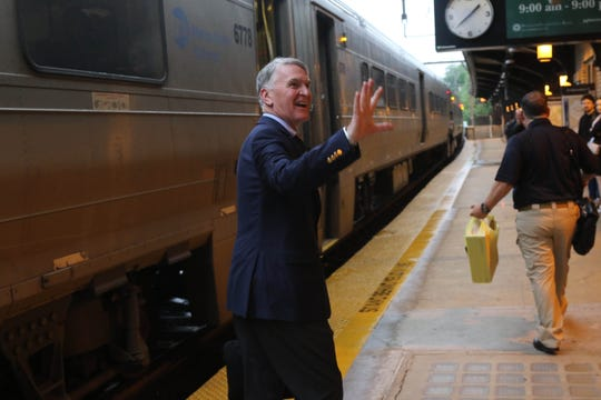 NJ Transit president and CEO Kevin Corbett on the platform at the Morristown Train Station for daily commute to his office in Newark on August 23, 2019.