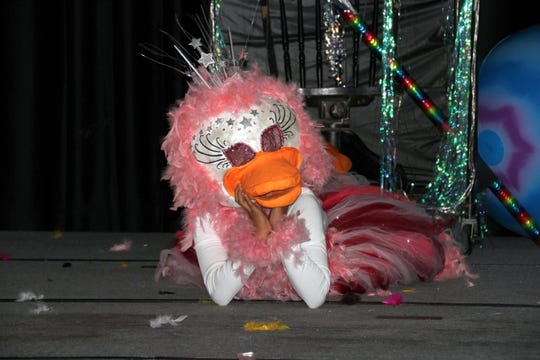 A space duck princess played to the audience during Thursday's Mizkan America Duck Royalty Pageant in Deming, NM