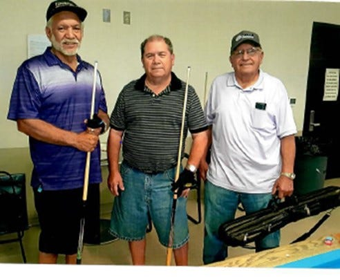 Pictured from left to right are the July 2019 eight-ball Billiard's Tournament winners, Henry Telles, first place, JR Guevara, second place and Florencio Avitia, third place.