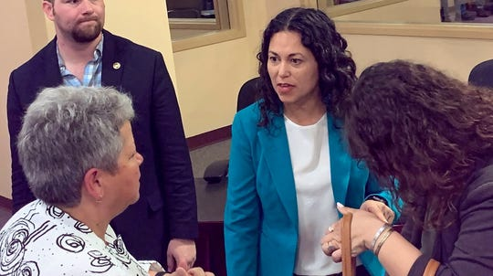 U.S. Rep. Xochitl Torres Small, D-NM, speaks with Doña Ana Community College President Monica Torres following a press conference at the Las Cruces Public Schools on Friday, Aug. 23, 2019.