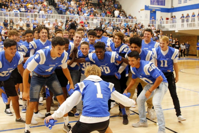 """Jordyn Barker (1) is the final football player introduced during Friday's pep rally at """"The Cave"""" at the Carlsbad High School on Aug. 23, 2019. The New Mexico Activities Association will vote on the """"fall"""" portion of the schedule Feb. 1, 2021. Football will likely have five games maximum due to the COVID-19 pandemic."""