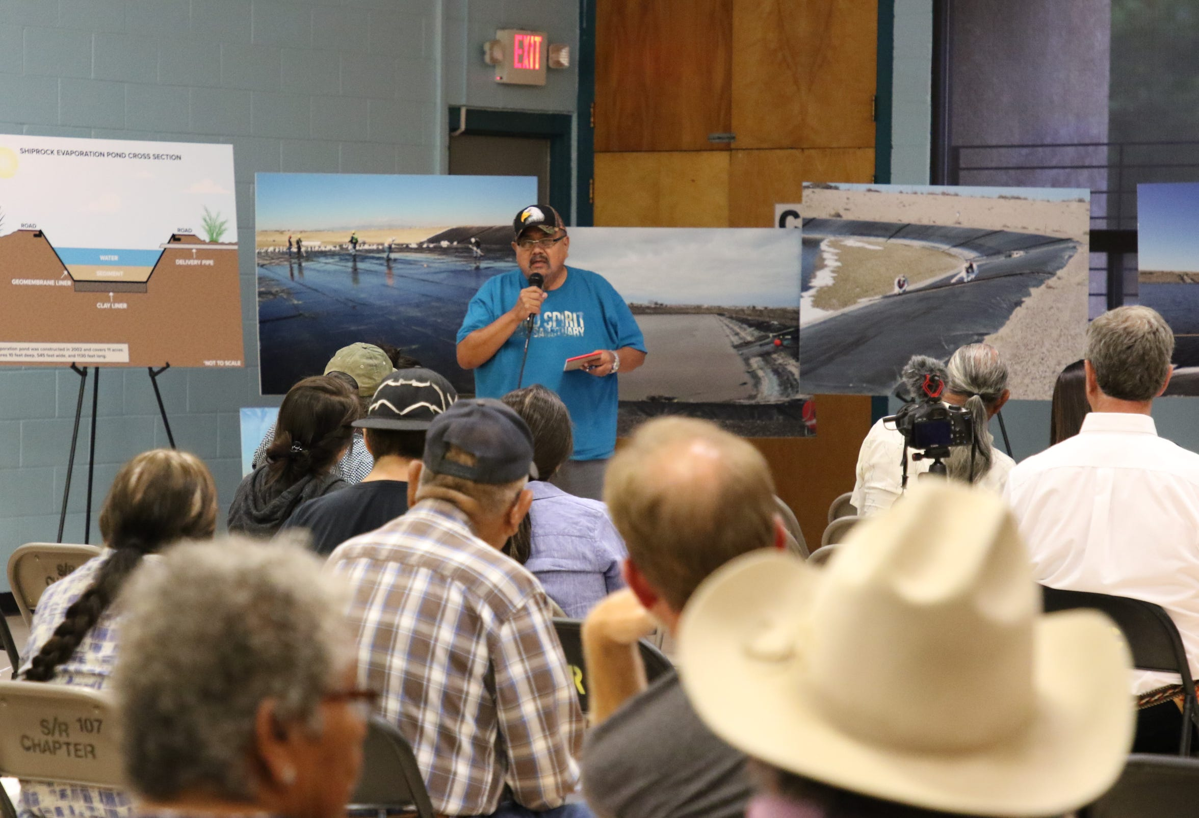 Perry Charley, a member of the Diné Uranium Remediation Advisory Commission, comments on Aug. 22 about proposals presented by the U.S. Department of Energy's Office of Legacy Management for the evaporation pond in Shiprock.