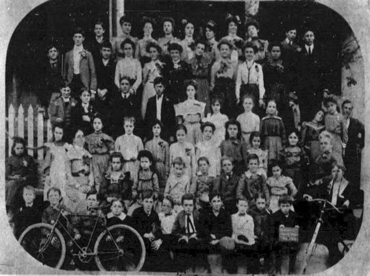 Students and faculty of the Opelousas Female Institute shown in front of the school in this photo taken on January 24, 1903.