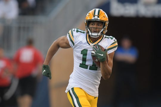 Aug 22, 2019; Winnipeg, Manitoba, CAN; Green Bay Packers wide receiver Trevor Davis (11) rushes against the Oakland Raiders during the first half at Investors Group Field.