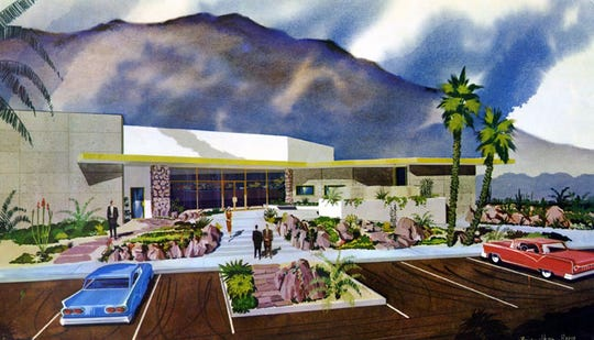 A color rendering of Security First National Bank in 1959.