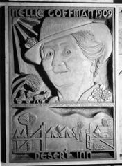 Detail of a plaque depicting Nellie Coffman's founding of the Desert Inn 1909 at the Security First National Bank in Palm Springs.
