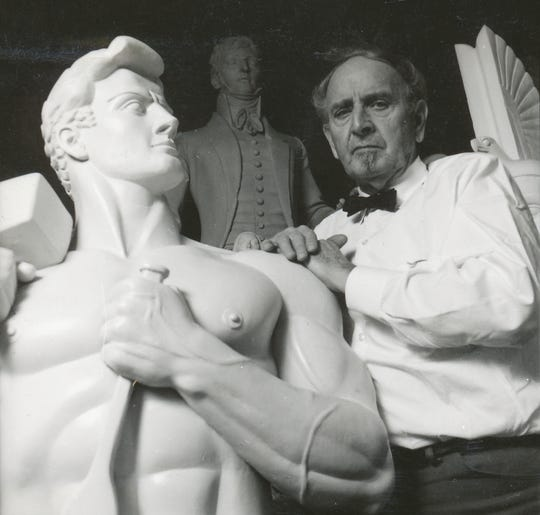 One of the last photos photos taken of Lawrence Tenney Stevens prior to his death in 1972. He is shown posing next to his stylized self-portrait bust.