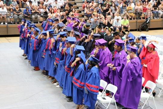 Desert Sands Unified School District graduates turn their tassels.