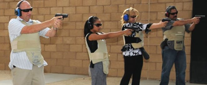 Students shoot at targets at the Ben Clark Training Center in Riverside in this undated photo.