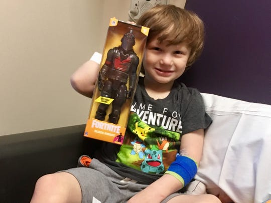Nathan Johnson's body produces immature red blood cells, which break apart rapidly, so he receives a blood transfusion four weeks at Phoenix Children's Hospital.