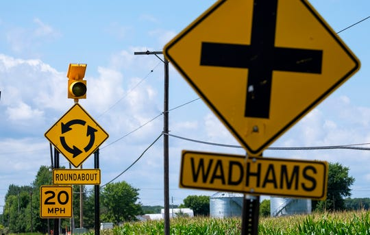 The roundabout at Fred W. Moore Highway and Wadhams Road in China Township is set to open Saturday.