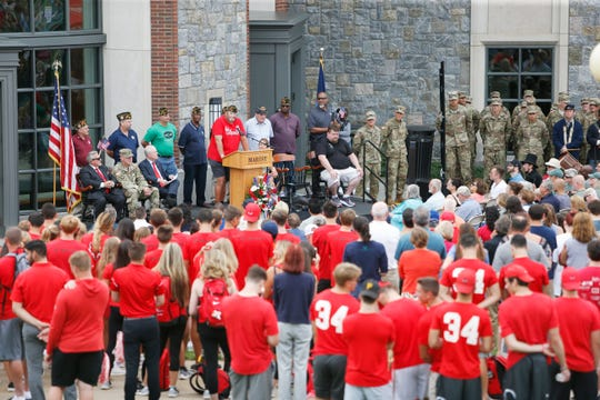 Tommy Zurhellen speaks to a crowd welcoming him home from his cross country walk at Marist College on August 23, 2019. Tommy Zurhellen returned home to Poughkeepsie today after walking across the country to raise awareness of veterans issues.