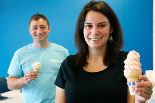 Lissy and Ross Hardisty with some flavor burst soft serve ice cream at Lissy's Dough & Dairy in the Town of Poughkeepsie on August 23, 2019.