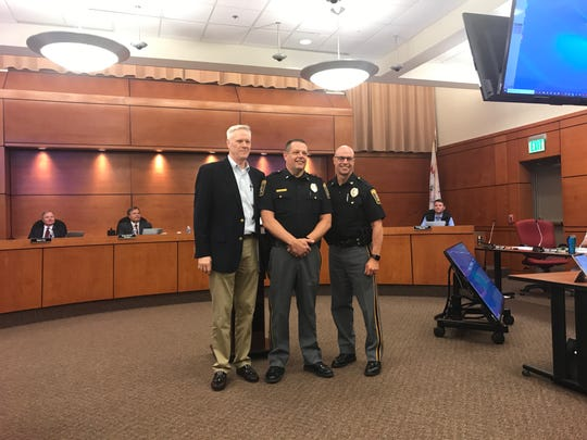 Lt. Todd King, center, will become the new police chief of Springettsbury Township in mid-September. Chief Dan Stump, right, is retiring on Sept. 20. Supervisor Mark Swomley, left, made the announcement Thursday evening.