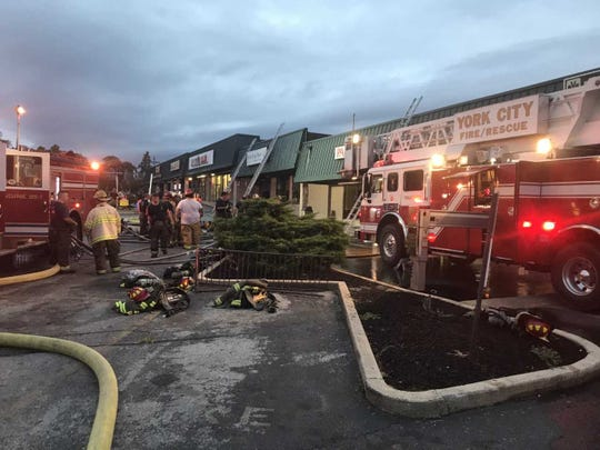 York City firefighters responded to a fire Friday at the Panaderia Bakery in the Yorktown Mall in the 100 block of North Duke Street. The owner of the business was treated for smoke inhalation.