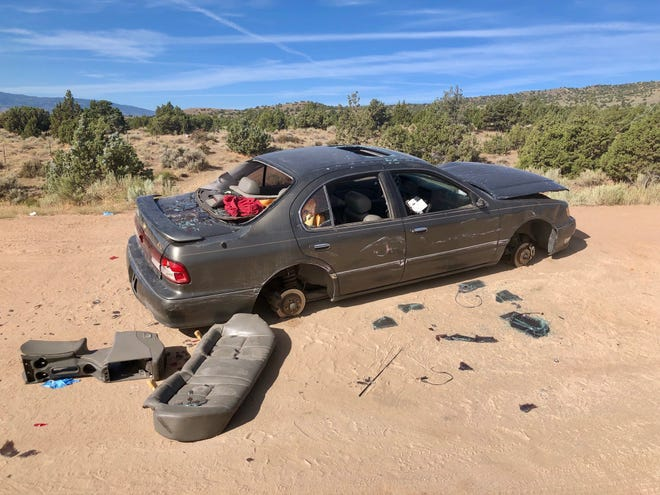 A vehicle dumped in Sun Valley on Thursday, August 22. The suspect, Nathan Aaron Kelso, age 37, of Sun Valley was arrested.