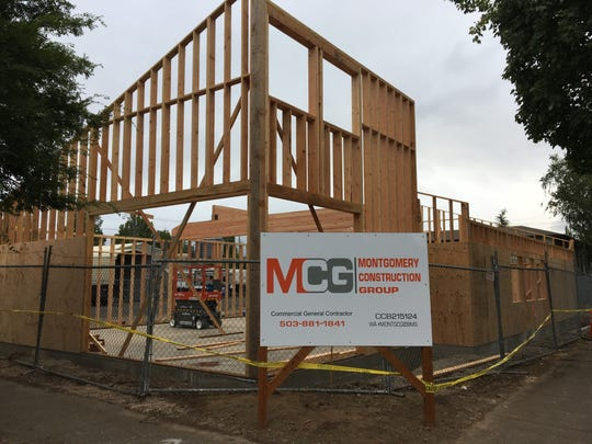 Construction of a new retail building for OG Collective Dispensary on Liberty St. NE in Salem, Oregon, on Aug. 21, 2019.