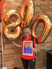 San Angelo Central High School head volleyball coach Connie Bozarth got her 800th career victory against Katy Tompkins at the Ragin' Rattler Tournament in San Marcos Friday, Aug. 23, 2019.
