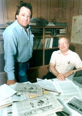 From left: Steve and Elmer Kelton are photographed in his office at Livestock Weekly in San Angelo prior to his retirement in 1990.