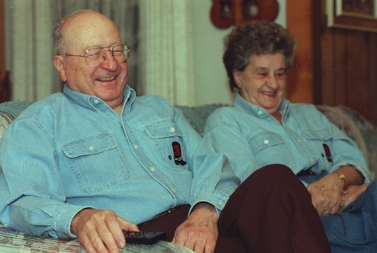 Elmer and Ann Kelton, wearing matching 'Good Old Boys' chambray shirts, watch an advance copy of the TNT Original Movie starring San Saba's Tommy Lee Jones at their San Angelo home in February of 1995.