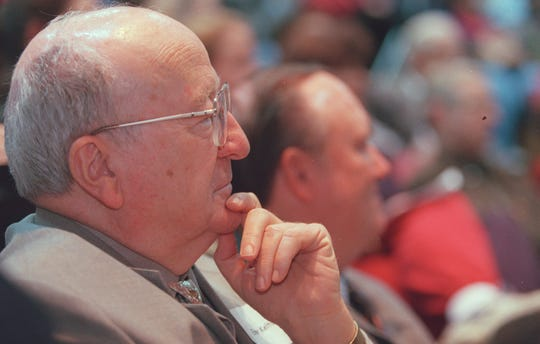Local writer Elmer Kelton awaits introduction at the Third Annual Writer's Conferce at Angelo State University in February of 1999.