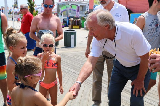 Maryland State Comptroller Peter Franchot meets some girls on the Ocean City boardwalk on Aug. 16, 2019. Franchot also met with boardwalk business owners.