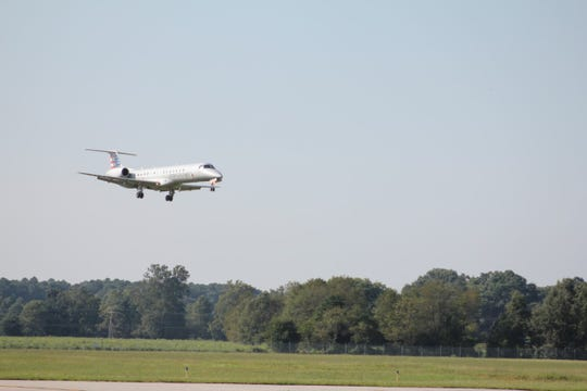 An American Airlines flight lands in the Salisbury-Ocean City Wicomico Regional Airport.