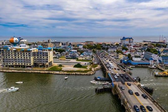 The Harry W. Kelley Bridge on Route 50 into Ocean City as seen from the air.
