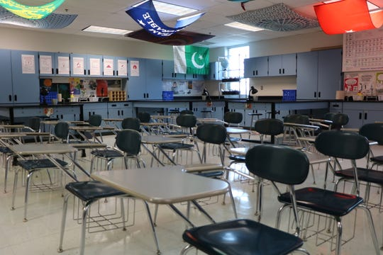 Classrooms like this science room are being prepared for the start of school on Sept. 3. All teachers are supposed to return to school on Aug. 26 ahead of their students.