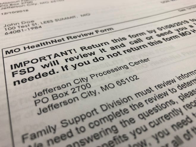 A sample version of the renewal notice sent to Missouri Medicaid recipients to verify their eligibility this past year.