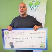 George Johnson of Staunton won $1 million in the Virginia Lottery.