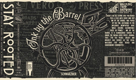 """""""Ink by the Barrel"""" is a schwarzbier, or a black lager. It's described as a lager-bready taste, clean and malty with light chocolatey notes, reminding you of liquid chocolate malt balls."""