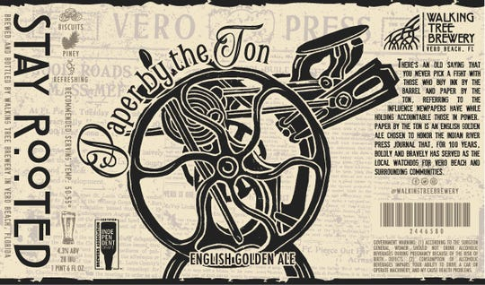"""""""Paper by the Ton"""" is a British golden ale. It's described as light, crisp and refreshing, like an American pale ale but with earthy British hops, providing a balanced medium bite."""