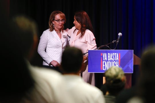 Former Arizona congresswoman and gun violence survivor Gabby Giffords was welcomed to Thursday's town hall by U.S. Rep. Veronica Escobar.