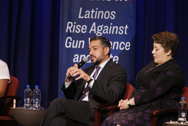 """State Rep. César Blanco, D-El Paso, said there are """"a bunch of cowards"""" running the country and called on leaders to act against gun violence during a town hall."""
