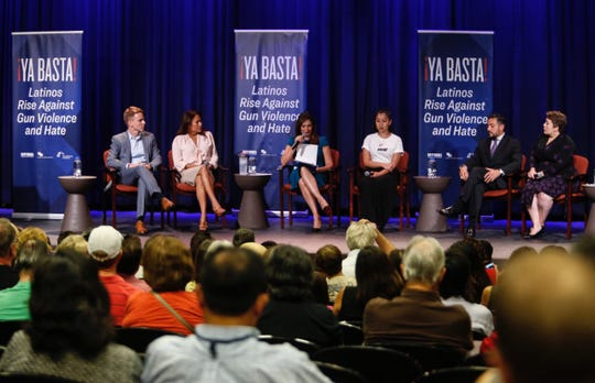 "U.S. Rep. Veronica Escobar, second from left, takes part Thursday, Aug. 22, 2019, in the ""¡YA BASTA! Latinos Rise Against Gun Violence and Hate"" town hall."