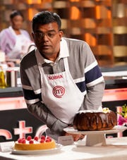 "Subha Ramiah, a home cook from West Nyack, in the ""Let Them Eat Cake"" episode of Masterchef."